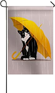 Chees D Zone Funny Cat Yellow Umbrella Garden Flags for Outdoor Yard Porch, Weather Resistant Welcome House Flag Seasonal Home Decoration Beige