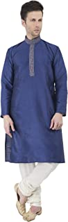 Men's Tunic Art Silk Kurta Pajama Set Party Dress
