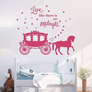 decalmile Princess Horse Carriage Wall Sticker Fairytale Cinderella Inspired Quote Live Like There's no Midnight Girls Wall Decals Kids Baby Nursery Room Decor (Dark Pink)