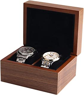 BingYes Wood Watch Box,with Ring Storage Bag Vintage Handmade Watch Box for Men/Women Watches (2 Slot)