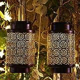 Solar Lantern Outdoor Hanging Lanterns Waterproof Retro Style Light Garden Decorative Lights for Outside Yard Patio Tree Backyard 2 Pack Large Size