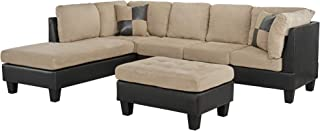 Casa Andrea Milano llc Modern Microfiber and Faux Leather Sectional Sofa and Ottoman Set, Hazelnut