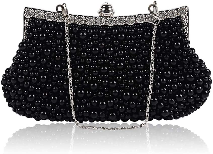 HttKse Evening Bags Handmade Beaded Pearl Bag Party Bag Vintage Style Ladies Clutch (Color : Black, Size : 23cm x 14cm)