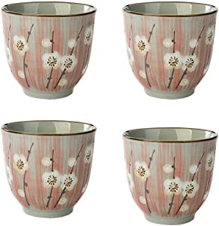 4Pcs Japanese Style Pink Sakura Ceramic Teacups Small Straight Wine Cups 150ML