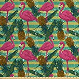 Ambesonne Flamingo Stoff von The Yard, tropische Tiere auf