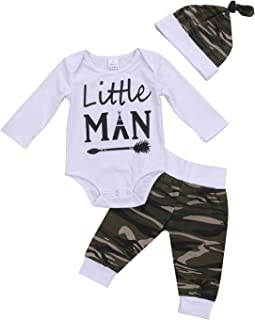 3PCS Newborn Baby Boys Cute Letter Print Romper+Camouflage Pants+Hat Outfits Set (6-9 M, Camouflage)