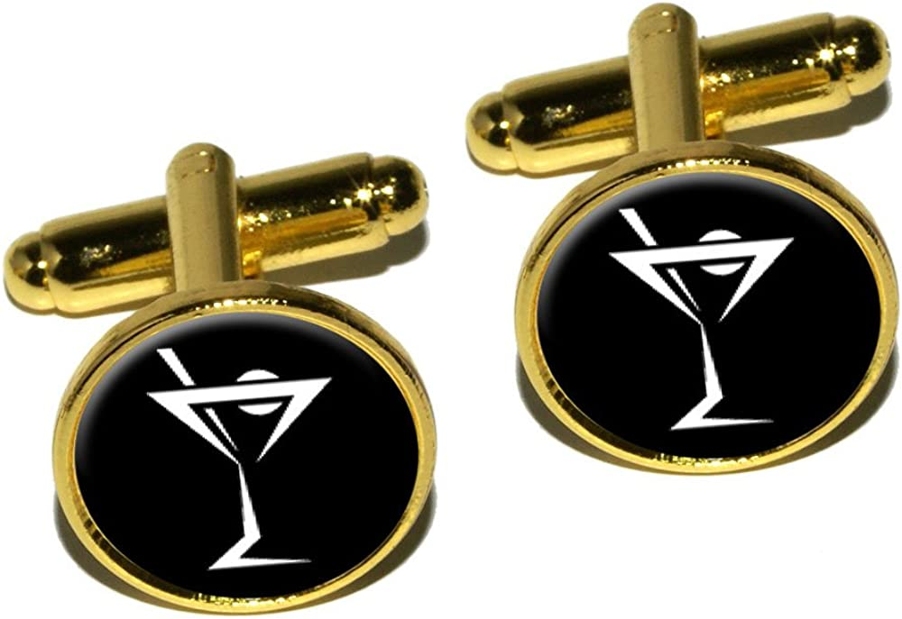 Graphics and More Martini Drink Cocktail Round Cufflink Set - Gold