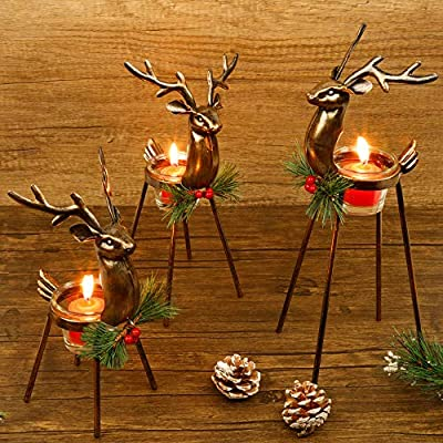 Juegoal Set of 3 Reindeer Tealight Candle Holders, Standing Iron Metal Christmas Decorations, Glass Votive Candle Holder, Durable and Rust-Proof Holiday Tabletop Centerpiece and Display