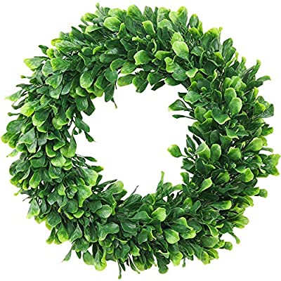 ElaDeco Boxwood Wreath Artificial Green Leaves Wreath for Front Door Wall Window Wedding Party Decoration