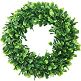 ElaDeco Faux Boxwood Wreath 16' Artificial Green Leaves Wreath for Front Door Hanging Wall Window Wedding Party Decoration