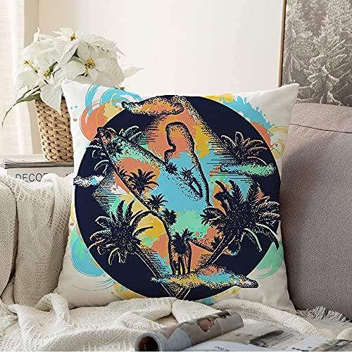 Almohada Tabla Decorativa Surf Acuarela Tatuaje Ocean Beach Chica Tabla de Surf Deportes Recreación Wave USA Sketch Hipster Square Cozy Funda de cojín Funda de Almohada para sofá, 18'x18