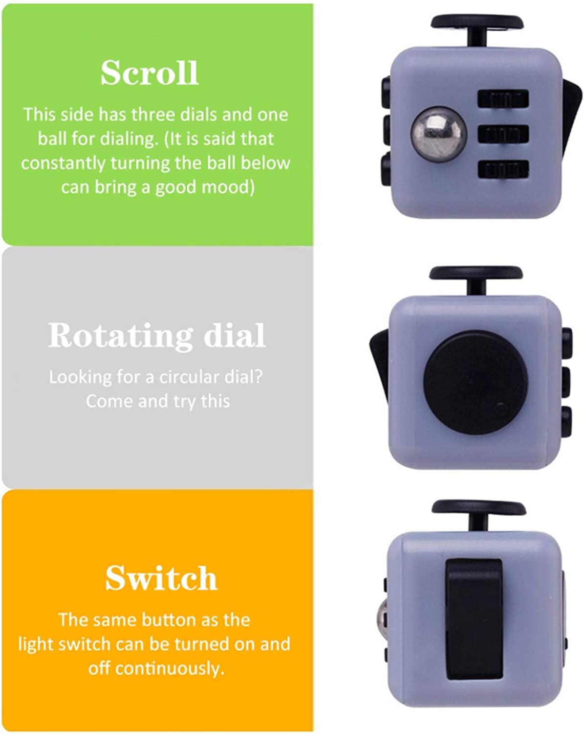 Brushed 6 Sides Fidget Toys Cube 6-Side Fidget Toys Cube Relieves Stress and Anxiety Anti depression cube For All Ages with ADHD ADD OCD Autism