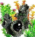 OrgMemory adornos para decoración de acuario, decoración para peceras, tronco con plantas de acuarios, adorno para el hogar de acuario