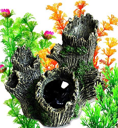 OrgMemory Ornamente für Aquarien, Aquarium Deko, Baumstamm, Fisch Tank Dekoration mit Pflanzen
