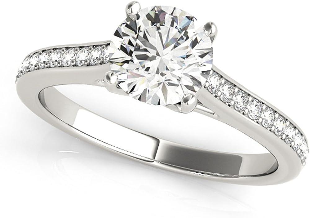 JewelMore 1/2ctw Diamond Engagement Ring in 10k White Gold