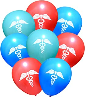 Doctor/Nurse/Medical Caduceus Latex Party Balloons (16 pcs) by Nerdy Words (Red, Aqua & Blue)