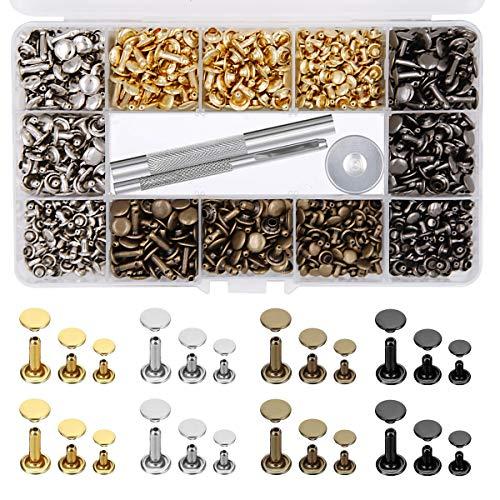 EuTengHao 484 remaches de cuero de doble tapa remache tubular de metal 3 tamaños con alicates de punzón y 3 piezas kit de herramientas de ajuste para reparación de cuero (4 colores)