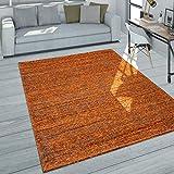 Paco Home Alfombra salón Pelo Corto Moderna Jaspeada en Gris Oscuro Naranja Gris, tamaño:120x170 cm