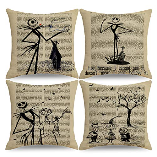 QIQIANY Set of 4 Vintage Halloween Decorative Throw Pillow Case 18 x18 Inches Square Linen Home Decor Set Halloween Christmas Thanksgiving Cushion Cover Throw Pillow Case for Sofa Couch Bedroom