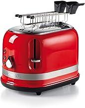 Ariete 149 rode broodrooster, 2 sneden, moderne broodrooster met tang, automatische uitworp, kruimellade, ontdooi- en verw...