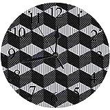 LUHUN Reloj de Pared Moderno,Composición de Cubo Monocromo con ilusión óptica de diseño 3D abstractoreloj de Cuarzo de Cuarzo Redondo No-Ticking para Sala de Estar 30 cm