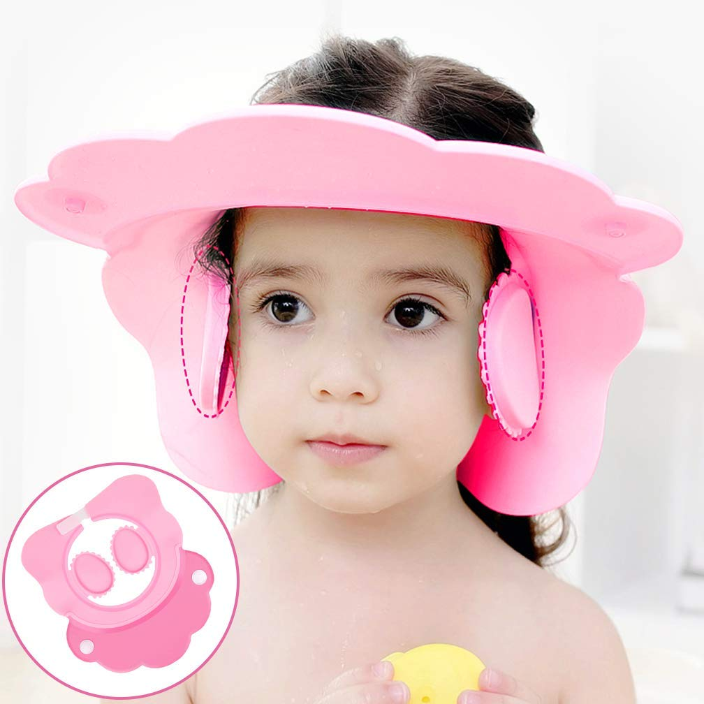 Baby Bath Cap wash Shower Shampoo Visor hat Prevent Water Entering The Eyes and Ears Adjustable Bathing tub Head Hair Rinser Shield Protection Kids Children Toddler (B Pink)