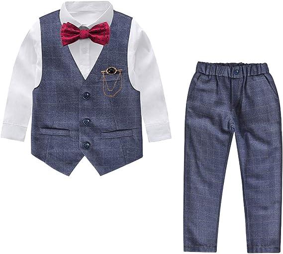 Yilaku Trajes De Niño 5 Piezas Camisa Blanca De Manga Larga + Pajarita + Broche + Pantalón + Chaleco Trajes de niño para Boda comunion Marinero