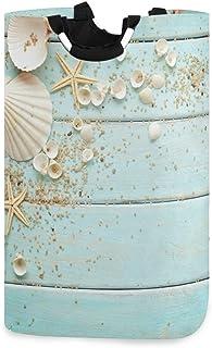 Été coquillage étoile de mer sur panier à linge en bois panier seau pliable sac de vêtements sales poubelle de lavage orga...