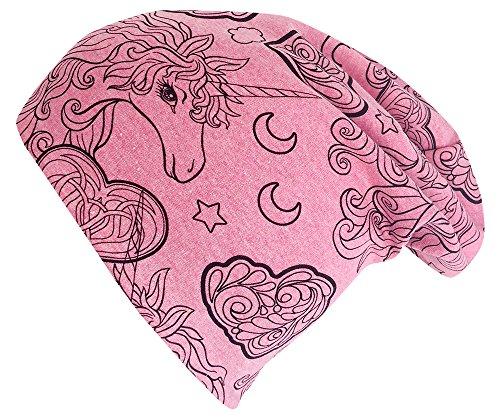 Wollhuhn ÖKO Long-Beanie, Wende-Mütze, ganzjährig, Unicorn Beauty pink/rosa, innen Uni grau, für Mädchen (aus Öko-Stoffen, Bio), 20180302, Größe L: KU 54/56 (darüber/Erwachsene)