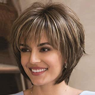 Divine Hair Short Mix Brown Blonde Wig Synthetic Wigs For Black/White Women Natural Wave Wigs African American Short Pixie...
