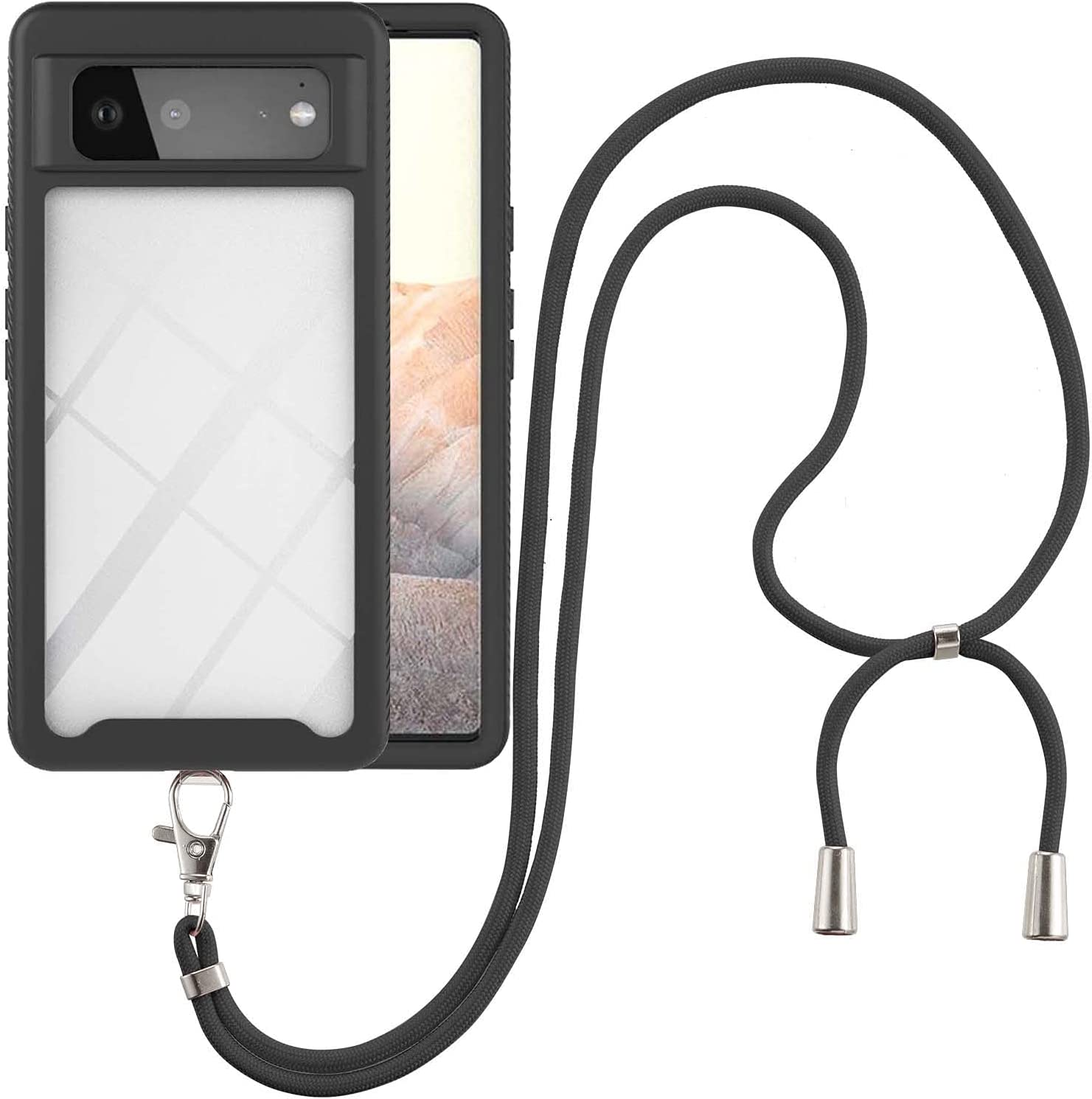 Google Pixel 6 Case, EabHulie Transparent Back No-Slip Bumper with Adjustable Crossbody Lanyard Strap Case, Shockproof Full Body Protection Cover for Google Pixel 6 Black