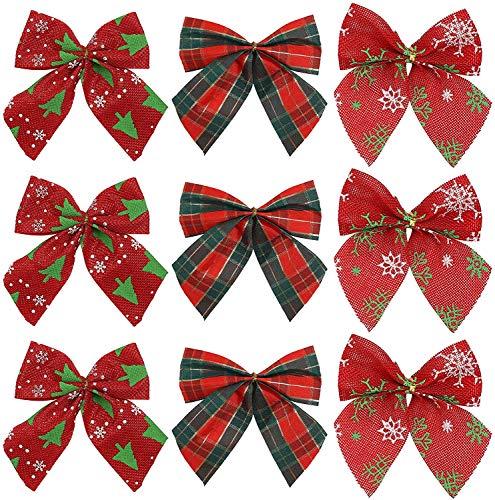 LessMo Weihnachtsschleifen, 9 Pcs Schleifen Weihnachten Deko, Christbaumschmuck Schleifen Deko Weihnachtsbogen mit Glöckchen für Urlaub, Geburtstag, Hochzeit, Party