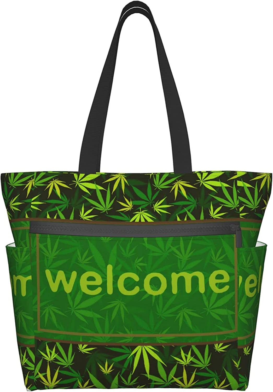 Tote Bag with Zipper for Cheap sale Women Welcome Bags Green Great interest Han Leaf Daily