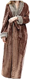 Howely Women Long Thick Bathrobe Flannel Thickened Nightgown Wrap Robe