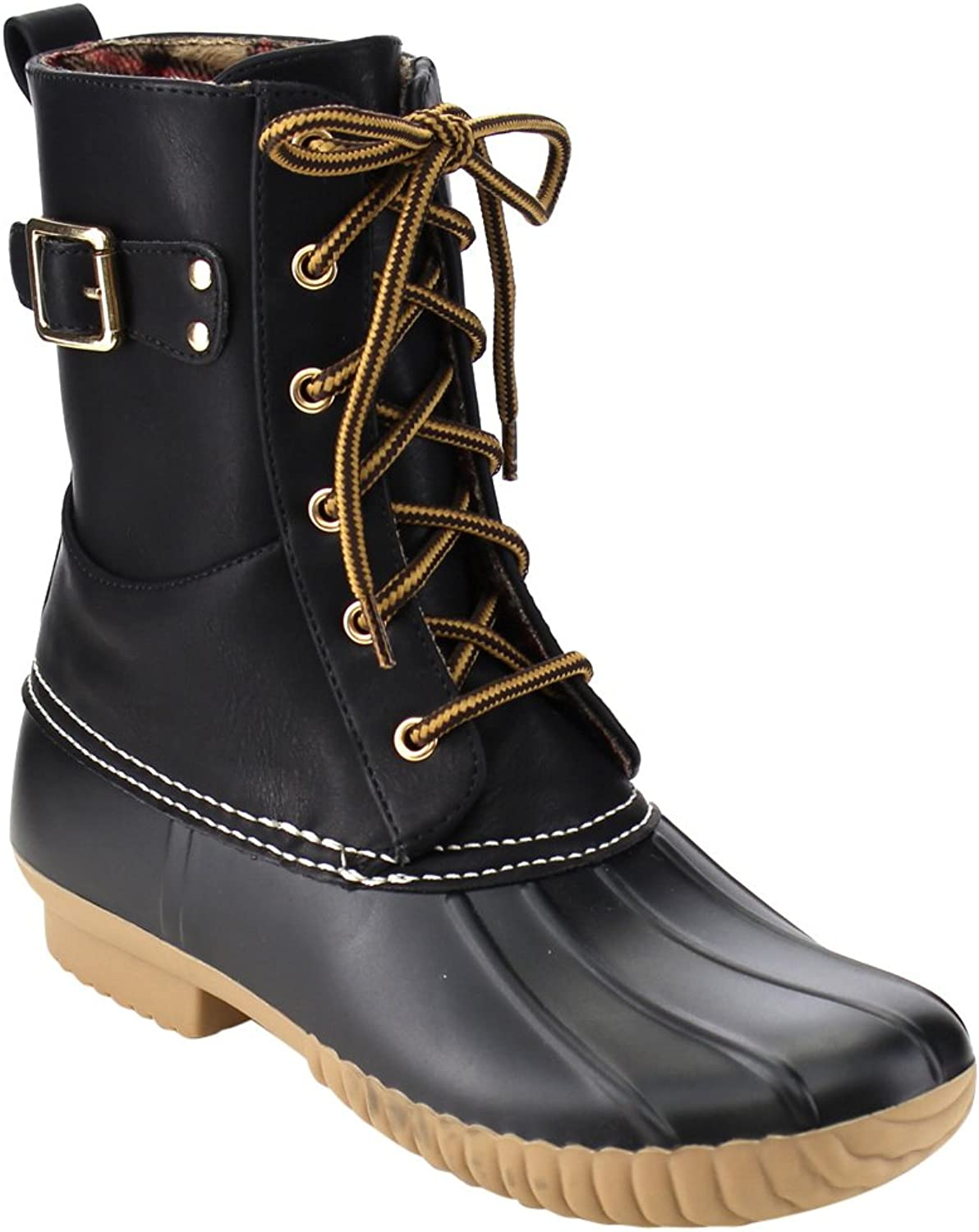 Wild Diva Lounge Devina-04A Women's Ankle High Lace Up Duck Rain Boots