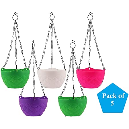 Plants Point 5 Pcs Diamond Hanging Baskets 8 Inch Flower Pot Plant with Hanging Chain for Houseplants Garden Balcony Decoration in Multicolor