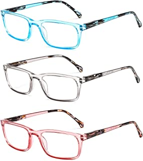 SUERTREE 3 Pack Spring Hinge Anti Glare Reading Glasses Transparent Frame Computer Glasses Comfort Eyeglasses JH200