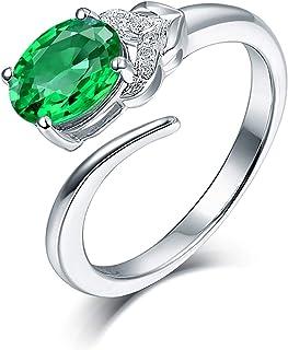 ButiRest - Anello in oro bianco 18 carati 750 con 4 denti taglio ovale 1,24 ct verde smeraldo VS e diamante 0,03 ct