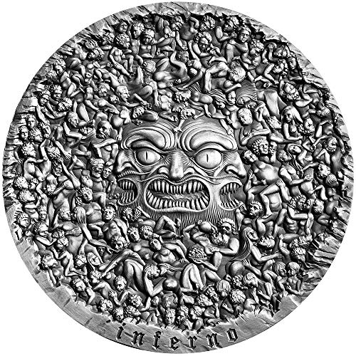 2020 CM Divine Comedy PowerCoin Inferno Dante The 700th Anniversary 5 Oz Silver Coin 5000 Francs Cameroon 2020 Antique Finish