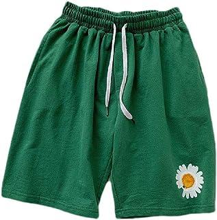 MogogN Mens Loose Print Solid Colored 100% Cotton Pockets Drawstring Board Shorts