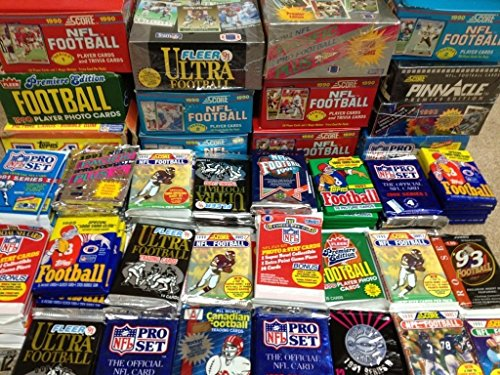NFL Football (200) Cards in Sealed Wax Packs Topps Score Pro Set Upper Deck Fleer Ultra Old Vintage