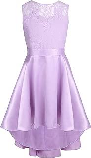 Alvivi Big Girls Lace Splice High-Low Hem Junior Bridesmaid Dress Wedding Birthday Party Ball Prom Gowns