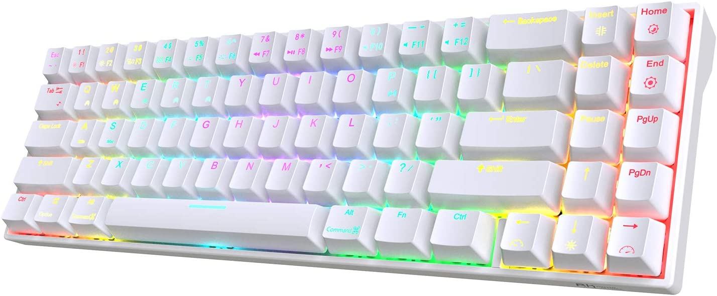 RK ROYAL KLUDGE RK71 70% RGB Wireless Mechanical Gaming Keyboard with Stand-Alone Arrow Keys & Function Keys, Brown Switches and Easy-Switch up to 6 Devices for Ultra-Low Latency Connection