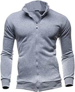 Mens Full Zip Hoodie Stand Collar Sports Jumper Fleece Lined Winter Autumn Fleeces