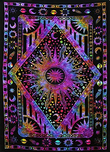 Hippie Mandala Sun and Moon Maditation Poster Tapestry Wall Hanging - Indian Purple Burning Sun Stars Psychedelic Popular Mystic Tie dye Beach Blanket 30 x 40 Inch