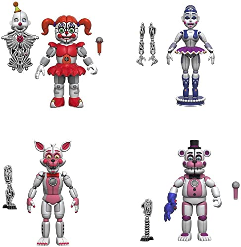 Five Nights at Frougedy's  5  Articulated Action Figures -  , FT Foxy, FT Frougedy, Ballora Set of 4  (Ennard)