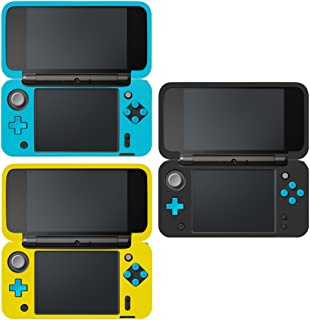Protective Case Compatible New 2DS XL, AFUNTA Set of 3 Anti-Slip Silicone Cover with Comfort Feeling - Black, Blue, Yellow