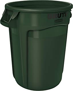 Rubbermaid Commercial Products FG263200DGRN BRUTE Heavy-Duty Round Trash/Garbage Can, 32-Gallon, Green