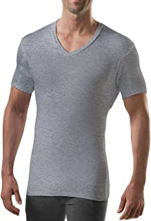 Thompson Tee with Sweat Pads Slim Fit Vneck, Rayon from Bamboo, Heather Grey, Large