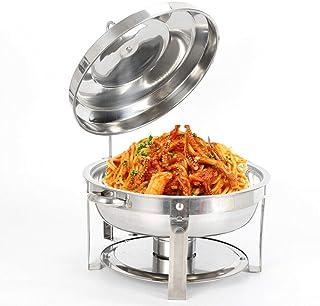 OUKANING Chauffe-Plat Rond,Chafing Dish 7.5 L en Acier Inoxydable avec réservoir de Maintien au Chaud Buffet Rond en Acier...